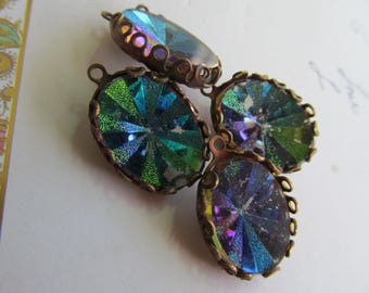 Magical Vintage Western German  Sunray Reflective  Cabochons In Lace Setting