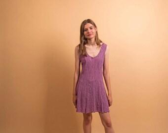 90s Lace Skater Dress / Vintage Lingerie / Lace Lingerie Dress / Mini Dress Δ size: M/L