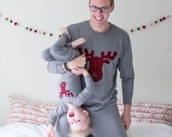 Family Christmas Pajamas, Buffalo Plaid Moose Pajamas for whole family,  Men's Pajamas, Women's Pajamas, Christmas pj for family, family pj