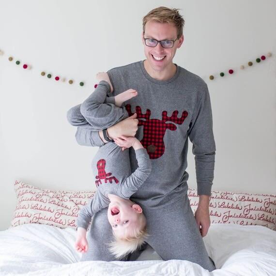 Family Christmas Pajamas Buffalo Plaid Moose Pajamas for