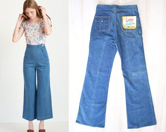 Vintage 70s Lee Wide Leg Jeans, 1970s High Waisted Jeans, Deadstock, Denim, Flare, Bell Bottoms
