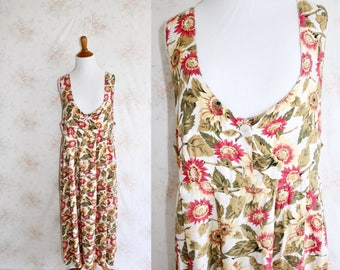 Vintage 90s Sunflower Dress, 1990s Flower Print Maxi Dress, Floral, Pinafore, Express, Festival