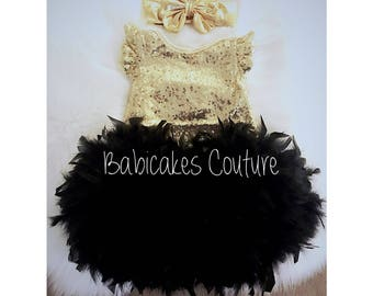 Babys 1st Christmas, Full Feather Tutu, Baby Gold Sequin Bodysuit, Gold Headband, Black and Gold 1st Birthday, 1st Birthday Girl Outfit