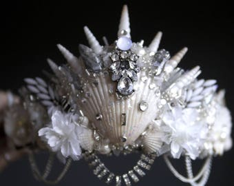 The CRYSTAL ROCK Mermaid Crown / headband / headdress with Swarovski crystal details