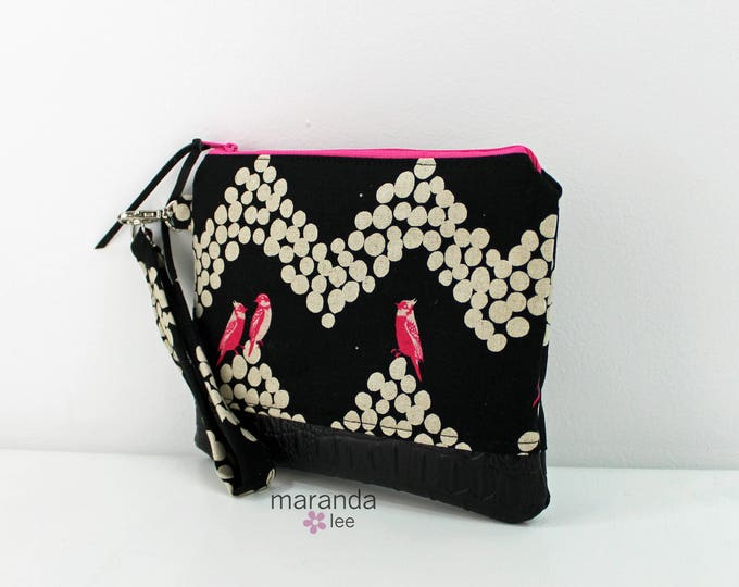 Flat Clutch Large- Pink Birds with Black PU Leather READY to SHIp