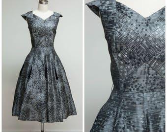 Vintage 1950s Dress • On a Roll • Gun Metal Grey Velvet Flocked 50s Party Dress Size Medium