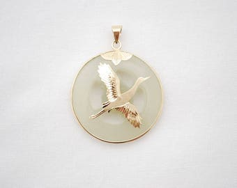 Vintage Asian Crane Bird In Flight Pendant - 14K Gold Overlay on Pale Jade Stone - 1970's