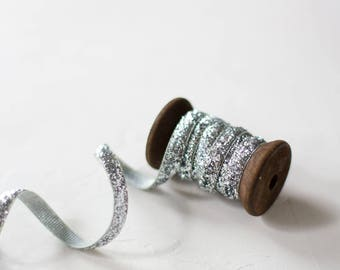 """Silver Glitter Velvet Ribbon (with Wooden Spool) - 4.75 yards - 1/4"""" wide"""