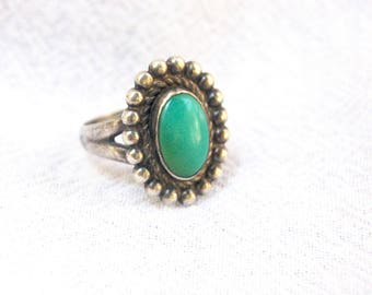 Turquoise Ring Size 5 Vintage Sterling Silver Cameo Concho Southwestern Cowgirl Bell Sterling Trading Post Jewelry
