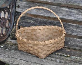 Vintage Heart Shaped Basket. Wedding Accessories, Flower Girl. Wicker, Cute.
