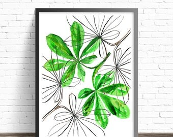 Green leaves print. Nature prints. Modern prints. Leaf Print. Green wall art. Modern home decor wall art. Simple prints. Leaf wall art