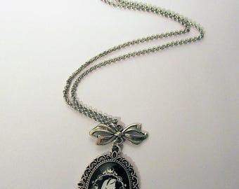 Alice in Wonderland Silhouette portrait cameo silver pendant