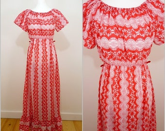 VINTAGE 1970s Funky Retro Red White Baroque Bohemian Folk Maxi Dress UK 12 F 40 / Hippy / Prairie