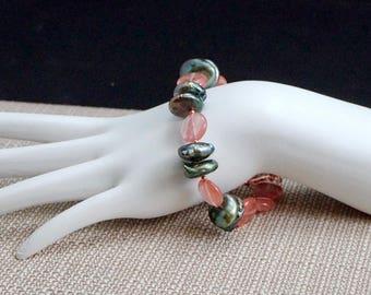 Green Freshwater Pearls with Cherry Quartz Bracelet