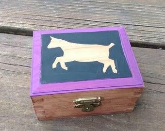 Ready to ship, Goat Keepsake Box, Pygmy goat keepsake box, hand painted,