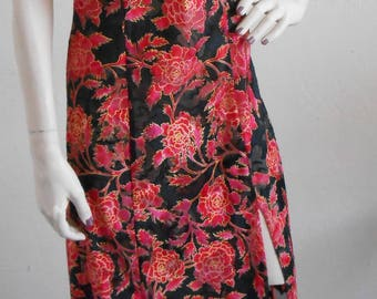 Vintage Nightgown Chemise Sheer Burn Out Victoria's Secret Black Red Floral Full Length