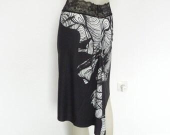 Argentine Tango & Salsa Skirt  US 4 and 6 Milonga Dance Wear amazing colorful Designer Print Tango Jupe adorable Robe