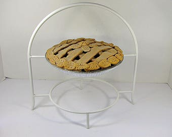 Vintage WHITE PIE STAND 2 Tier Metal Footed Kitchen Rack Storage Pastry Display