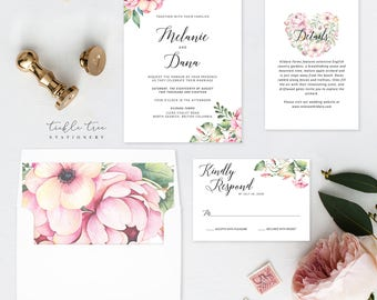 Wedding Invitation Suite, Semi Custom - Country Bloom (Style 13778)