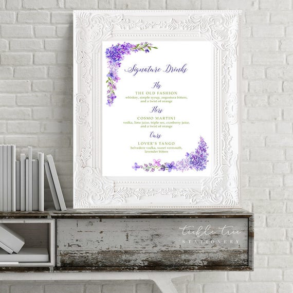 Reception Signs/Signature Drinks - Purple Garden (Style 13669)