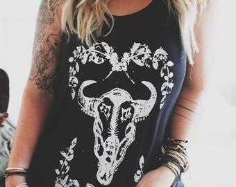 Gypsy Antelope Skull Tee, Off shoulder shirt, Customizable Shirt, Teen Girl shirt, Gifts for her, Boho Shirt, Bohemian Shirt, Gypsy Shirt
