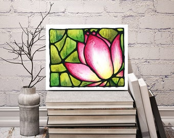 Pink Lotus Print - FREE Shipping - Stained-Glass Art - Pink Floral Wall Hanging - Art Nouveau Artwork - Pink Flower Room Decor - Water Lily