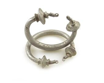 Tribal Tuareg African Aluminum Tizabaten Hoops Large Earrings Pair, Mali