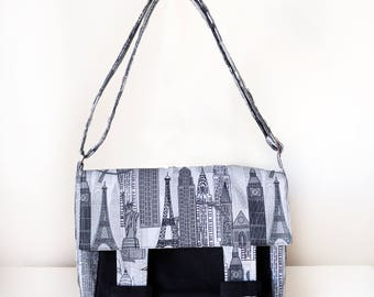 Cross Body Bag / Messenger Bag / Satchel Bag for Women with Pockets and Adjustable Strap in Black and White