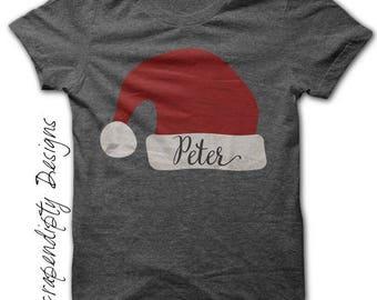 Christmas Iron on Transfer - Iron on Santa Hat Shirt / Christmas Personalized Shirt / Baby Shower Gift / Santa Hat Toddler Tshirt IT281