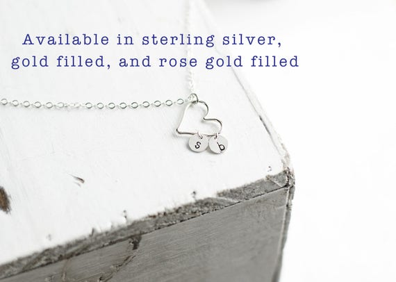 Dainty Heart Necklace | Family Initial Jewelry | Silver Gold Fill and Rose Gold Fill