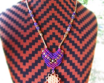 macrame amethyst necklace - flower of life necklace - purple necklace