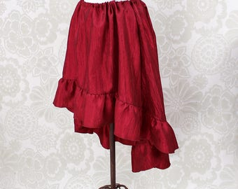 """Steampunk High Low Cecilia Skirt, Longer Length -- Cherry Red Crinkle Taffeta -- Ready to Ship -- Best Fits Up To 48"""" Waist"""