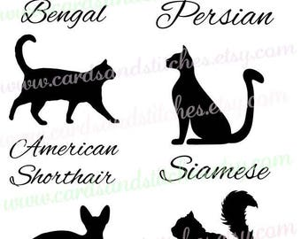 Cat Silhouettes SVG - Persian - Siamese - Bengal - Digital Cutting File - Instant Download - Graphic Design - Svg, Dxf, Jpg, Eps, Png