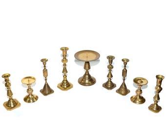 Brass Candlesticks Gold Candlestick Holders Lot of Brass Candlesticks Wedding Candlesticks Wedding Decorations - Set of 9