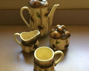 8 pcs Mushroom Tea Set Teapot 4 Cups Creamer Sugar Bowl Canister Ceramic Toadstool Shroom 3D