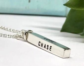 Personalized Swivel Bar Necklace -  Hand Stamped 4 Sided Pendant - On Trend Bar Jewelry - Name Necklace - The Charmed Wife - Gifts for Mom