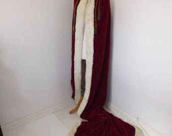 Vintage ladies red velvet very long Coronation Royal Queen robe cape real rabbit collar trim theatre fancy dress