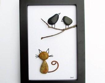 Pebble Art - Cat and Crows-- modern art, child's room art, minimalist art, original wall art, small space wall art, cat lover art