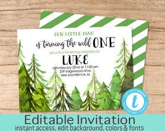 Wild One Birthday Invitation, Adventure Invitation, Editable Birthday invite, Boy Adventure Invitation, Templett, Instant Download