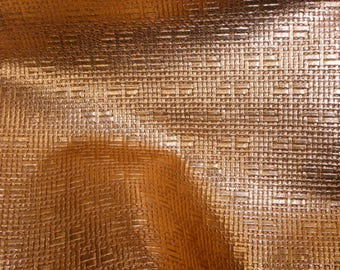 """Leather 12""""X12"""" PANAMA Metallic COPPER Soft BASKET Weave Embossed Cowhide 2-2.5 oz/0.8-1 mm PeggySueAlso™ E8000-17"""