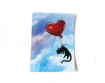 Black Cat Art, ACEO Original, Heart Balloon, Animal Painting, I Love You, Acrylic Painting, Sympathy Gift, Pet Memorial, Blue Sky