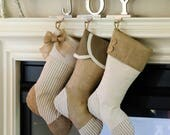 Christmas Stockings for Family - Set of Three (3) - Taupe Springs Eternal!