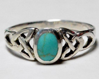SALE Vintage Sterling Silver Turquoise Celtic Style Knot Simple Band Ring Size 7.25
