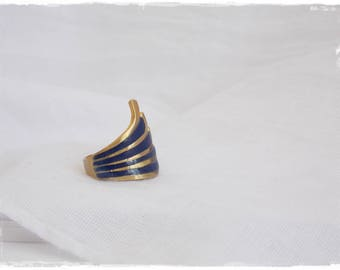 Geometric Brass Ring, Minimal Brass Ring, Dark Blue Ring, Nautical Brass Ring, Polymer Clay Ring, Tribal Brass Ring, Navy Blue Brass Ring