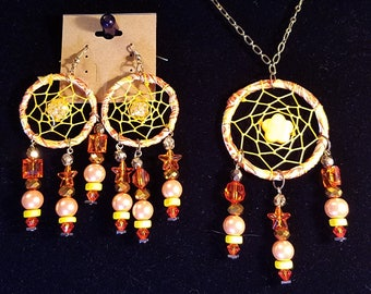Sunny Bright Dream Catcher Jewelry Earring and Necklace Set
