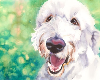 Goldendoodle Dog Watercolor Fine Art Print on Paper, Metal, or Canvas