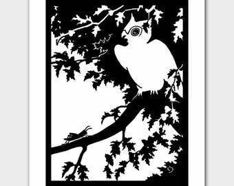 "Owl Wall Decor (Black and White Silhouette, Baby Girls Nursery, Boys Room Prints) ""Owl & Grasshopper"" --  Fairy Tale Book Illustration"