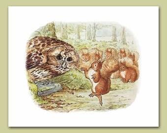 "Woodland Room Art (Beatrix Potter Nursery, Baby Wall Print) ""Sunbeam Dance"" -- Peter Rabbit's Friends"