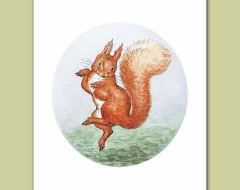 "Animal Nursery Decor, Boy Girl Bedroom Wall (Beatrix Potter Print, Squirrel Art) ""Happy Dance""-- Peter Rabbit's Friends"