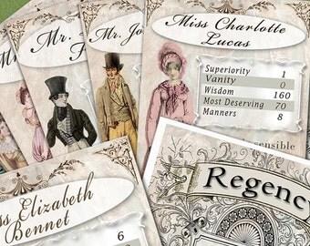 Set of 24 DIGITAL DOWNLOAD Pack of Jane Austen themed card game